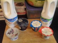 Milk, cream and Greek yogurt